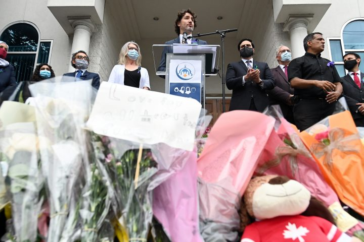 Prime Minister Justin Trudeau speaks at a vigil for the victims of the deadly vehicle attack on five members of the Canadian Muslim community in London, Ont., on Tuesday, June 8, 2021.