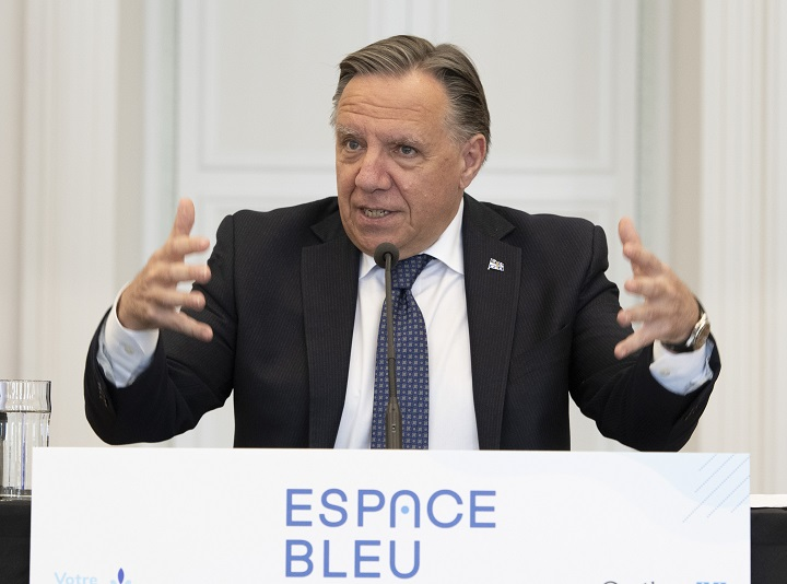 """Quebec Premier François Legault speaks at a news conference, Thursday, June 10, 2021  in Quebec City. The government announces the creation of an """"Espaces Bleus"""" network to promote Quebec cultural heritage."""
