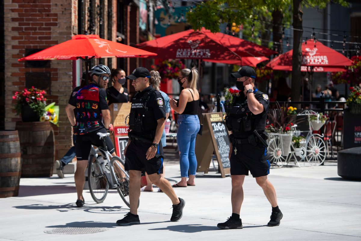 Ottawa police special constables patrol the ByWard Market in Ottawa, on Saturday, June 12, 2021.