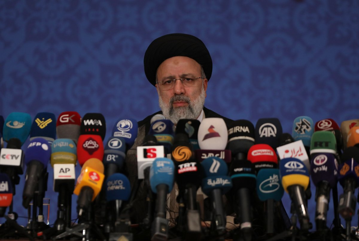 FILE - This Monday, June 21, 2021 photo shows Iran's new President-elect Ebrahim Raisi during a news conference in Tehran, Iran.