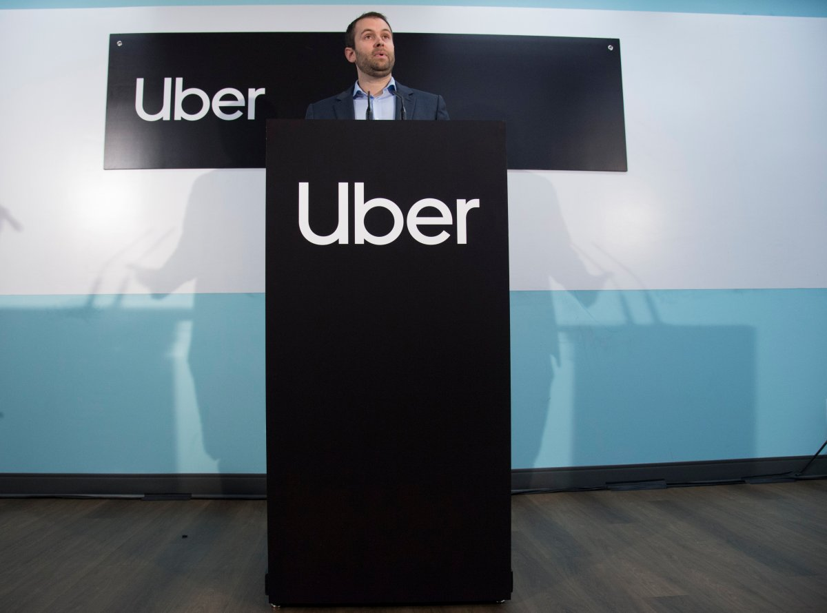 Michael van Hemmen, head of Western Canada for Uber, addresses the media during a news conference in Vancouver B.C, Wednesday, January, 29, 2020.