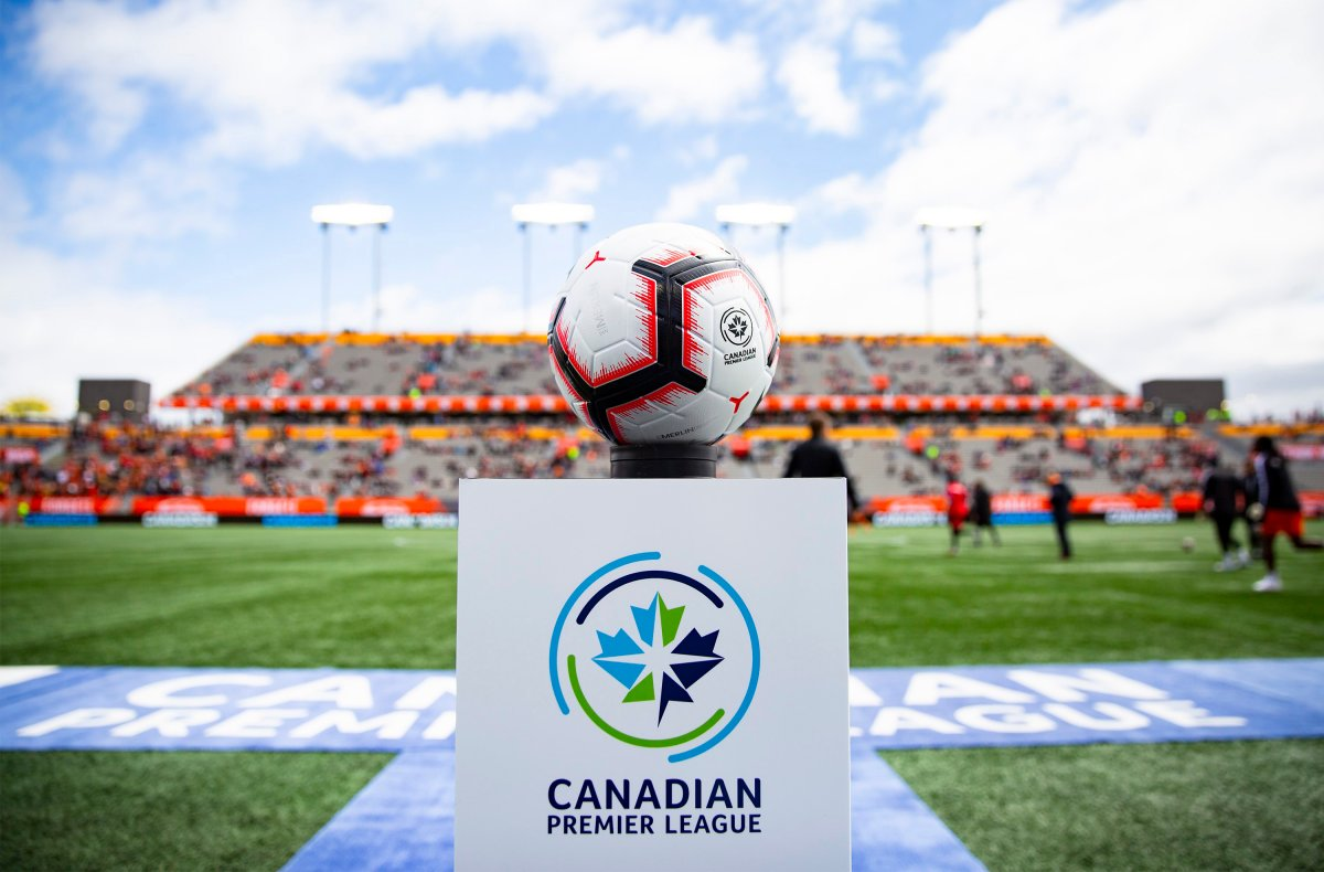 The game ball sits on a pedestal ahead of the inaugural soccer match of the Canadian Premier League between Forge FC of Hamilton and York 9 in Hamilton on April 27, 2019. The Canadian Premier League says it expects clubs to resume training soon, pending approval from local authorities.