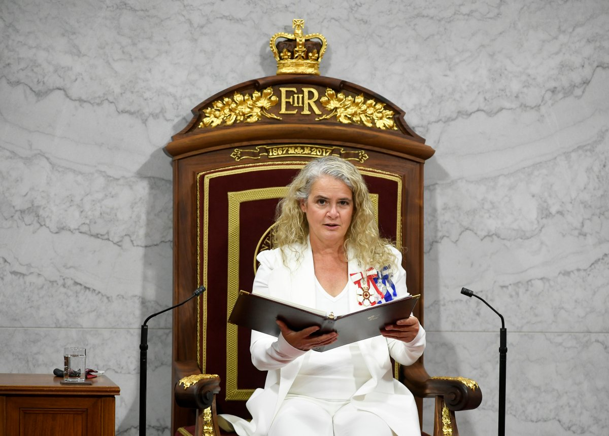 """Gov. Gen. Julie Payette delivers the throne speech in the Senate chamber in Ottawa on Wednesday, Sept. 23, 2020. An Ottawa school named for the former governor general will choose a new name after """"scathing"""" reports emerged on workplace culture at Rideau Hall under her leadership."""