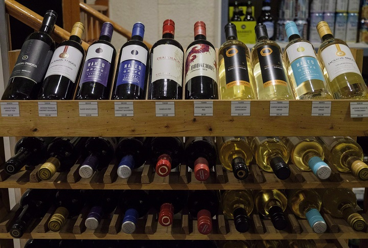 Bottles of wine are seen on display at a liquor store in Cremona, Alta., in this Feb. 7, 2018 file photo.
