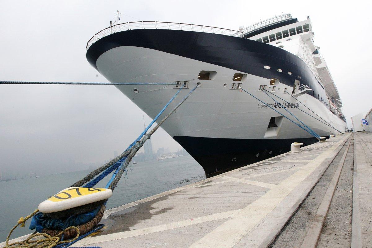 Celebrity Millennium cruise ship docks at Kai Tak cruise terminal in Kowloon Bay.