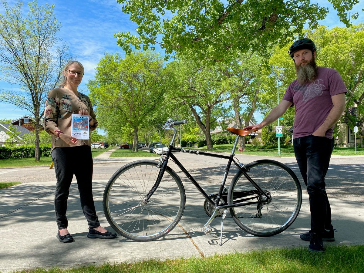 Lori Harasem (left), and Tyler Stewart (right) have worked to create cycling resources for the City of Lethbridge.