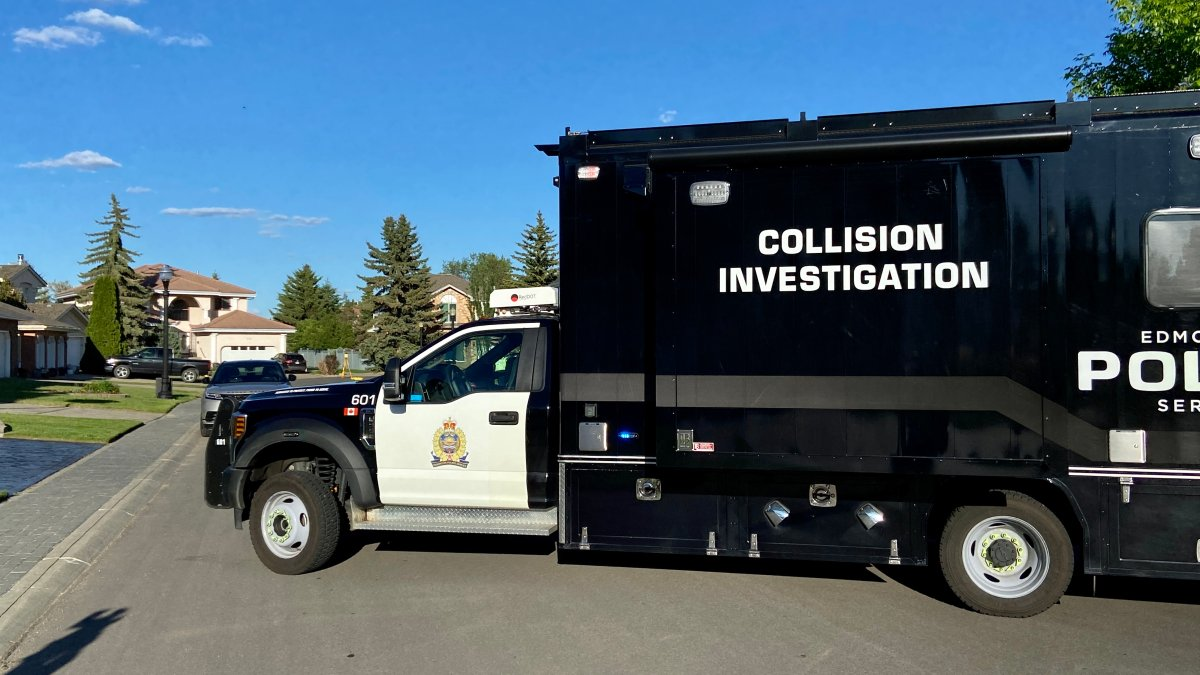 Edmonton police investigate a southwest collision that left two cyclists with serious injuries, Sunday, June 6, 2021.