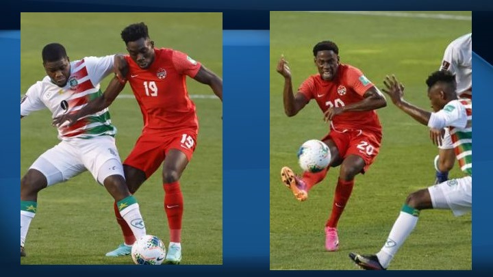 Jonathan David (player in red jersey on the right) scored three goals and Alphonso Davies (player in red jersey on the left) had a goal and two assists as Canada moved into the next round of World Cup qualifying in CONCACAF with a 4-0 win over Suriname on Tuesday.