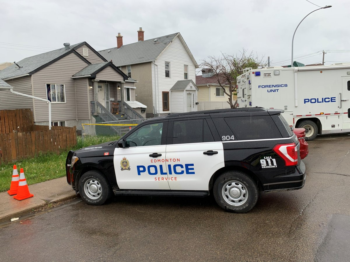 Edmonton police investigate a suspicious death after a man was found injured at a home in the area of 98 Street and 108 Avenue and later died in hospital, Wednesday, June 9, 2021.