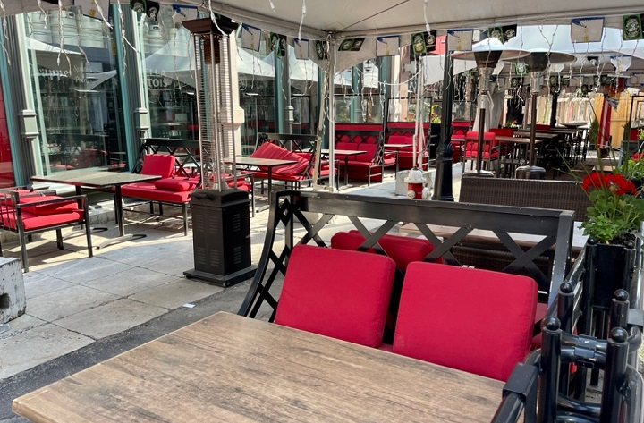 A patio at Bier Market in Ottawa sits empty on June 6, 2021 as Ontario remains in a COVID-19 shutdown. The city's patios will be open for business starting Friday, June 11 at 12:01 a.m.