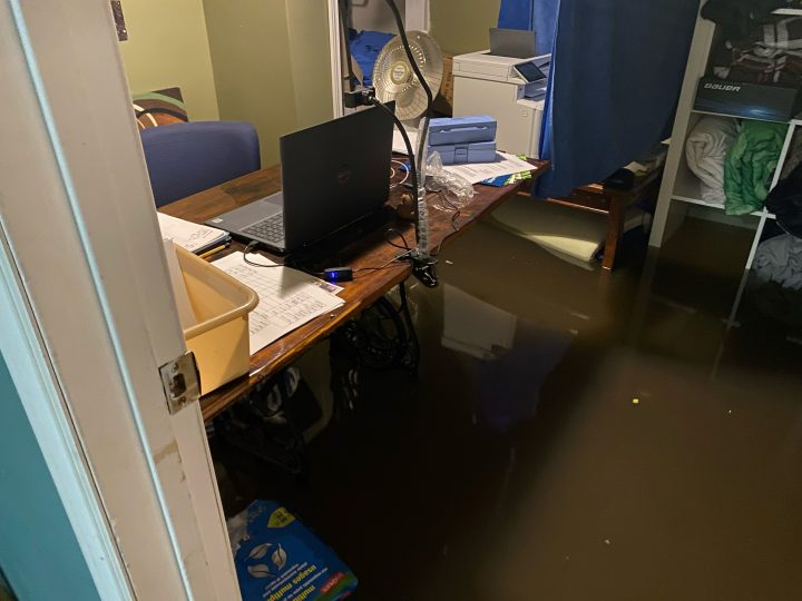 Scott Karpinka's basement sits partially submerged in water due to flooding that occurred on June 10.