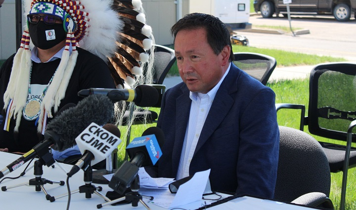 Chief Reginald Bellerose of Muskowekwan First Nation during a press conference at the Federation of Sovereign Indigenous Nations main building in Saskatoon Thursday.