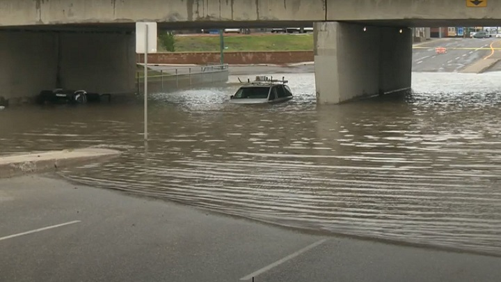 The City of Regina says cleanup continues after Friday's rainstorm, which saw between 50 and 70 millimetres of water fall from the sky in the span of two hours.