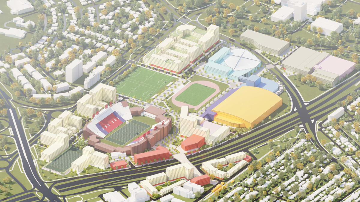 A conceptual rendering of a fully-developed Foothills Athletic Park with a new fieldhouse in yellow, part of a slide deck presented to a Calgary committee on June 14, 2021.