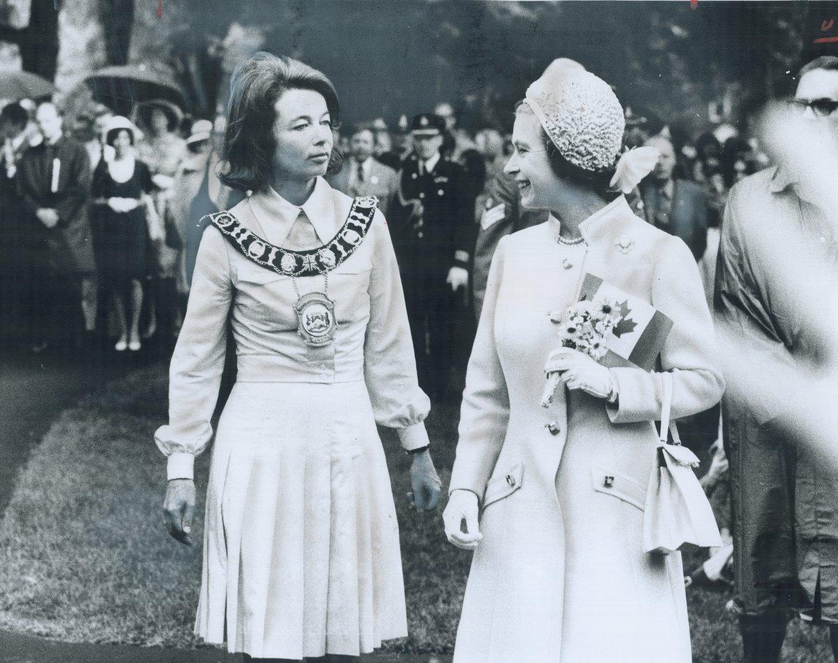 CANADA - London Mayor Jane Bigelow stands beside the Queen in Victoria Park on June 27, 1973.