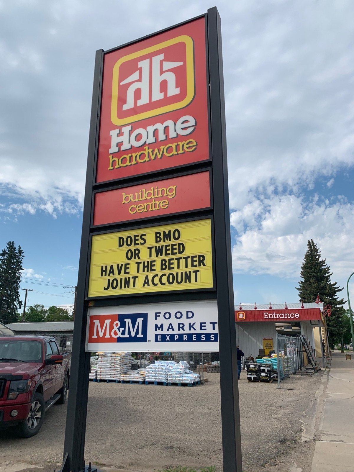Several tongue-in-cheek signs such as this one at Home Hardware, have 'sparked up' all over Melville.