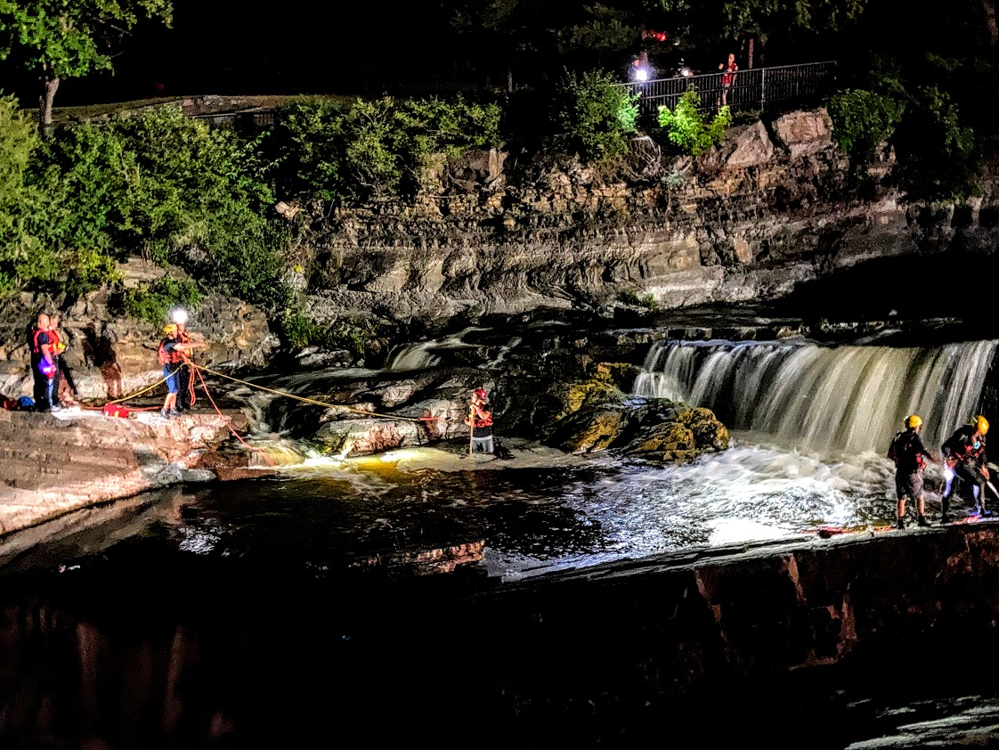 Ottawa fire and water rescue teams pulled a man from the waters at Hog's Back Falls on Sunday night.