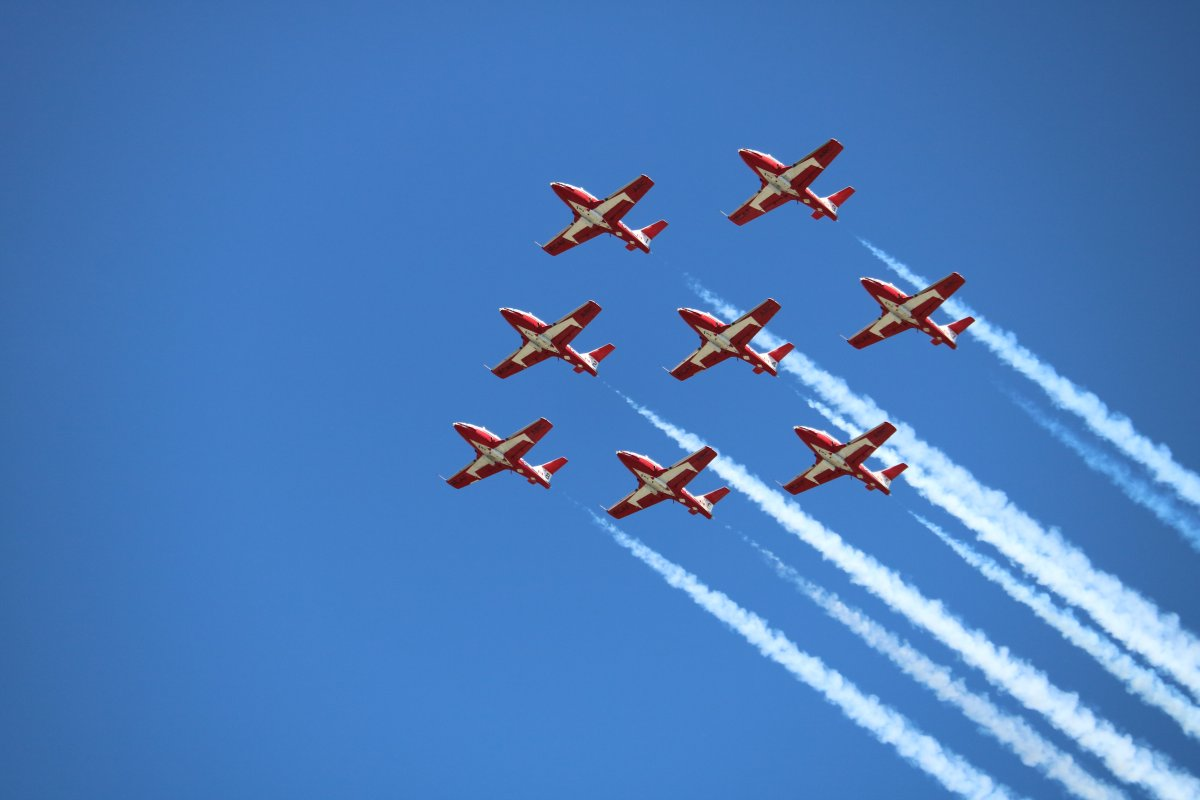 Canadian Force Snowbirds flying over Victoria Hospital in London, Ont., on June 15, 2021.