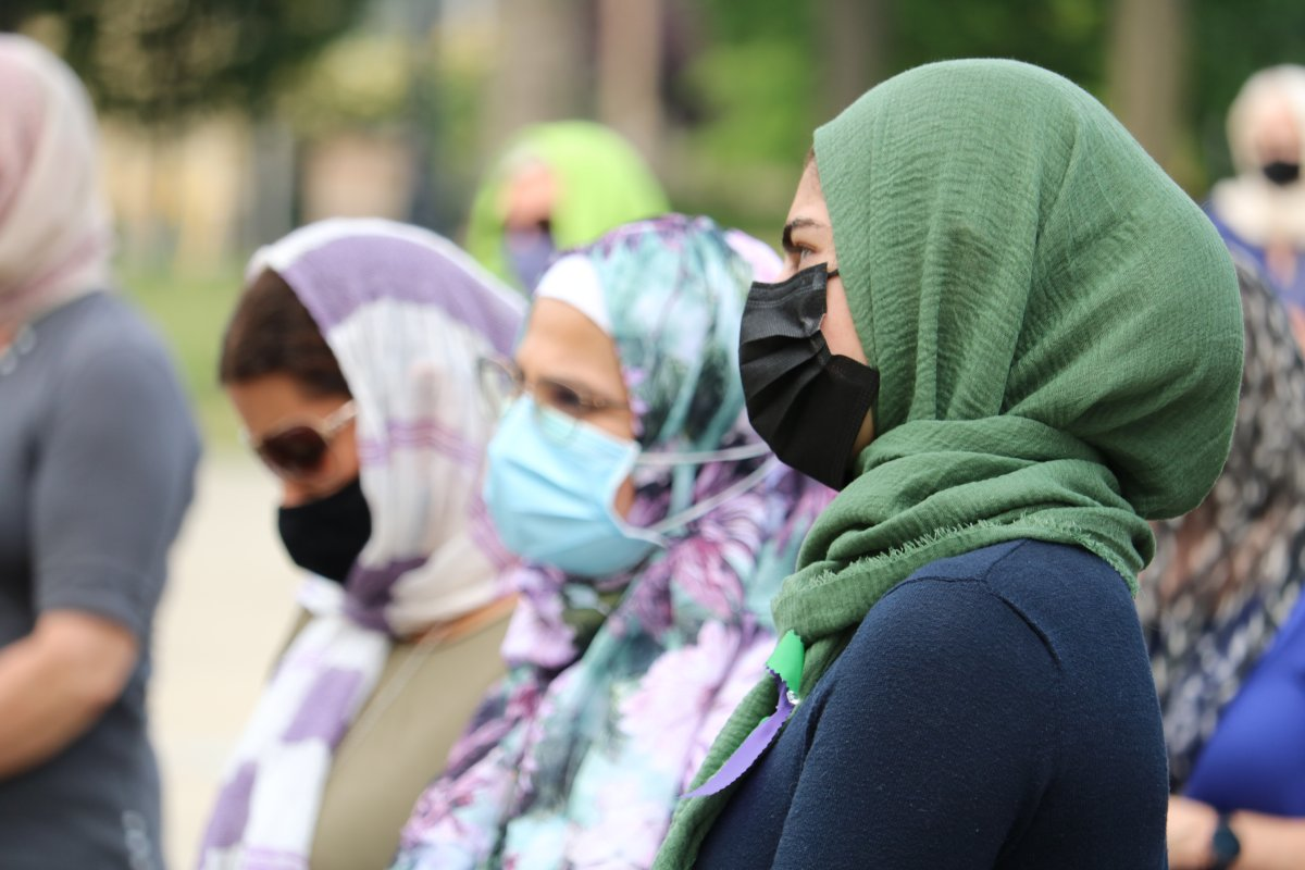 Londoners came together in Victoria park in support of the  Hijabs for Harmony event to combat Islamophobia Friday, June 18, 2021  .