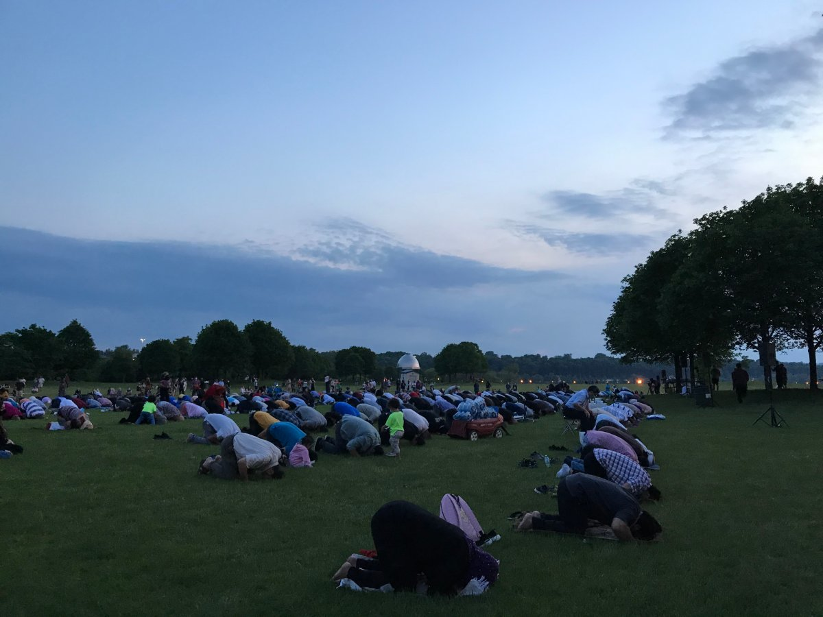 Supporters and members of Hamilton's Muslim community came to Bayfront Park on Wednesday evening for a vigil and prayer in honour of the family killed in a hate-fuelled attack in London.