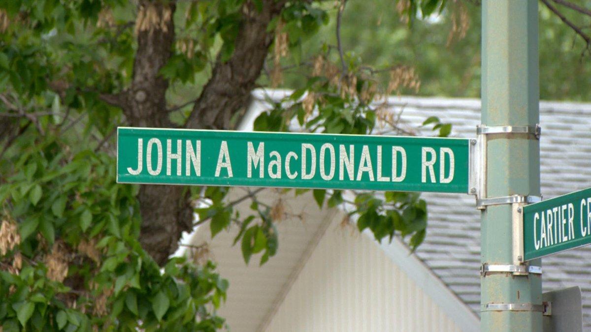 A street sign for John A. MacDonald road.