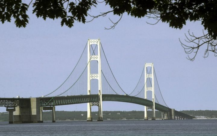 This July 19, 2002, file photo, shows the Mackinac Bridge that spans the Straits of Mackinac from Mackinaw City, Mich.