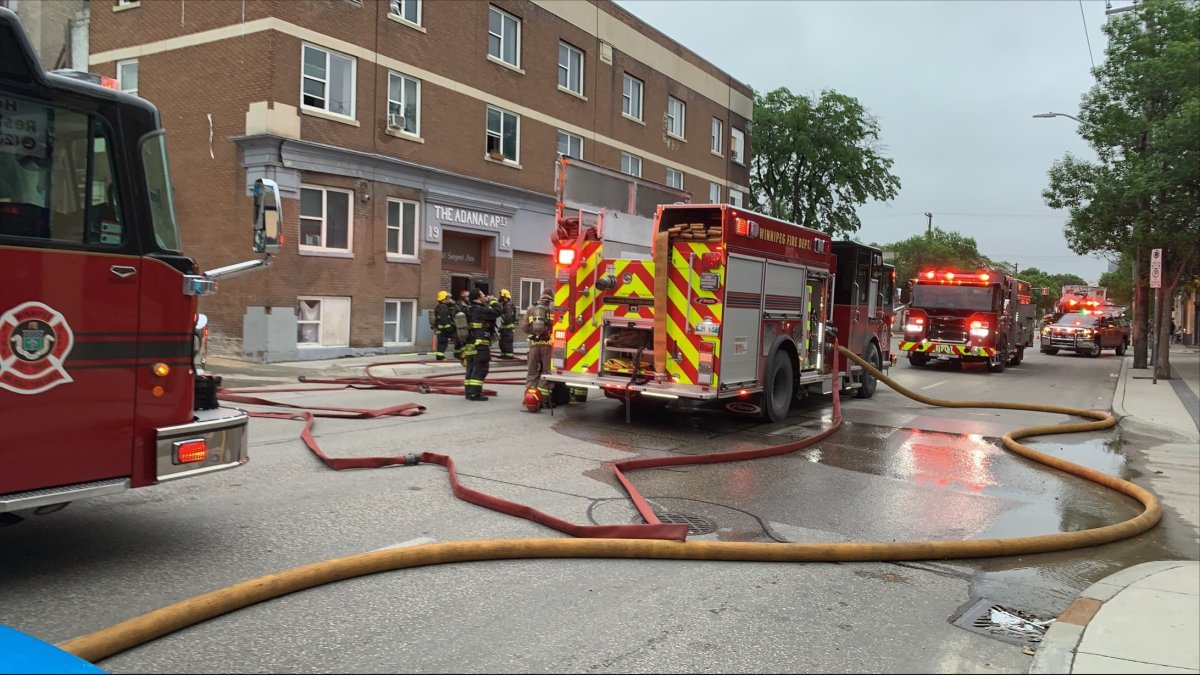 Fire crews battle a blaze at a Sargent Avenue apartment block.