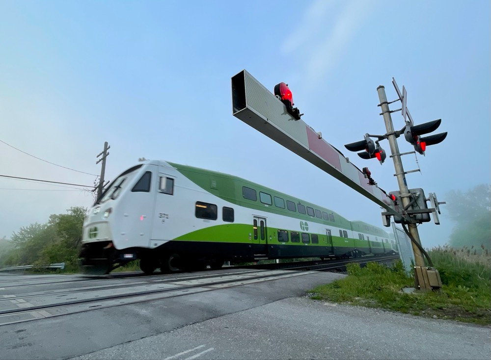 A GO Train is seen in Scarborough on June 3, 2021.