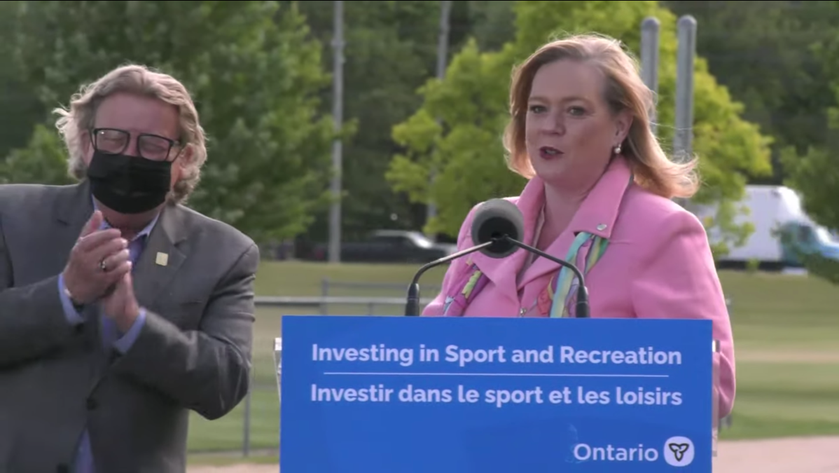 Mayor Ed Holder and Minister Lisa MacLeod on June 22, 2021.