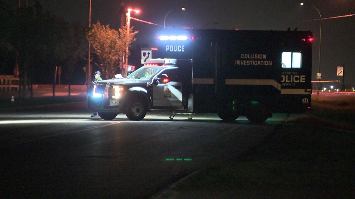 A woman is dead after she was struck by a vehicle that veered onto the sidewalk in northeast Edmonton on Wednesday, June 2, 2021.