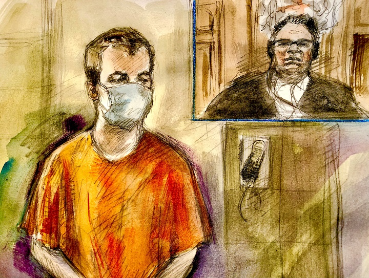 Nathaniel Veltman faces four counts of first-degree murder and one count of attempted murder. Crown prosecutors allege each charge constituted an act of terrorism.