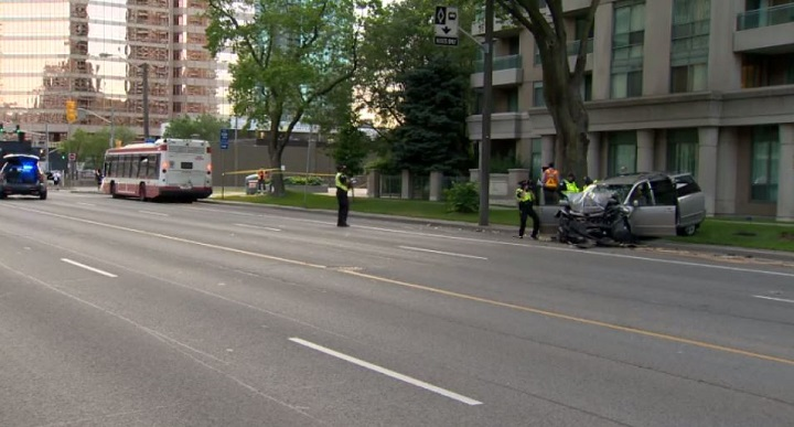 Scene of a fatal collision between a van and a TTC bus on Monday evening in North York.