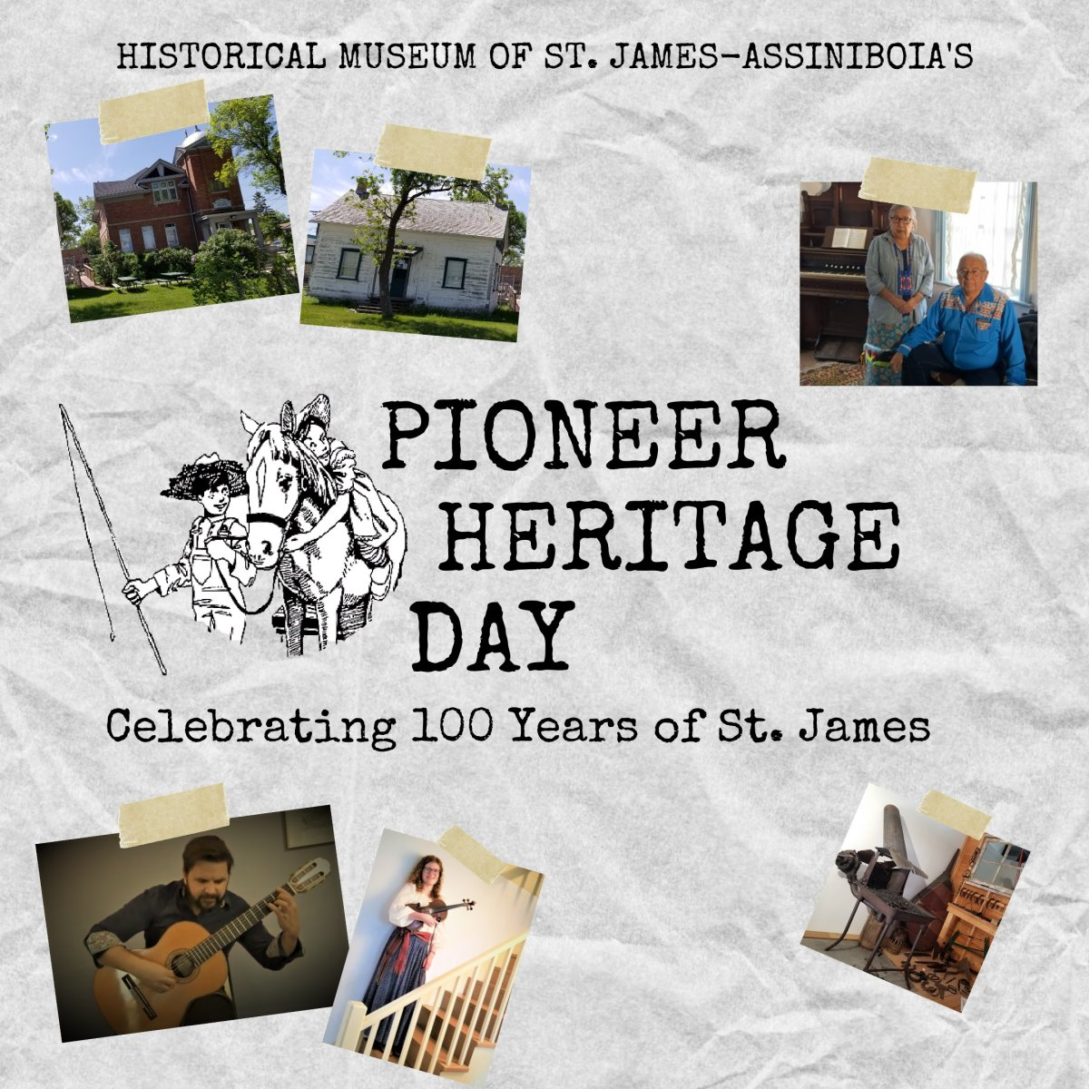 This year Pioneer Heritage Day is going virtual. Check out our livestream on YouTube at St. James-Assiniboia Museum for performances from Franco-Manitoban Jiggers, fiddlers, guitarists, and more! Join us for virtual tours of the museum. Find all the details at stjamesmuseum.com, Facebook (The Historical Museum of St. James-Assiniboia), and Instagram (@stjamesassiniboia).