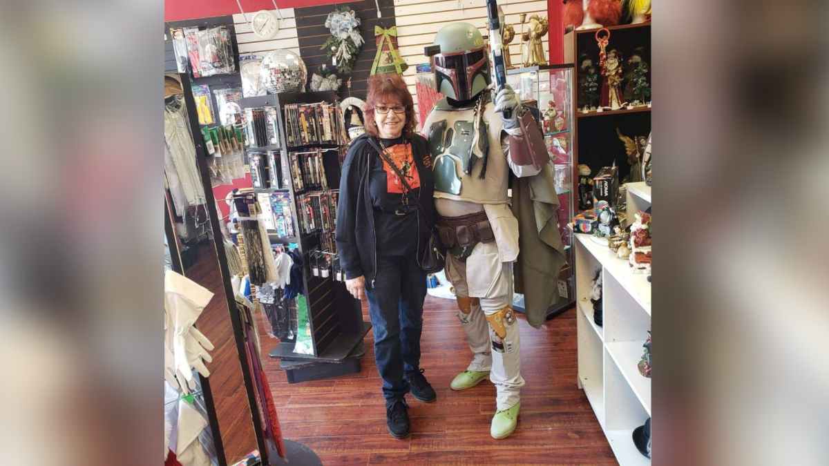 Brenda and Terry Rhodes say weekly costume walks along Concession Street on Hamilton's Mountain amid the pandemic have become a mission to put smiles on faces.