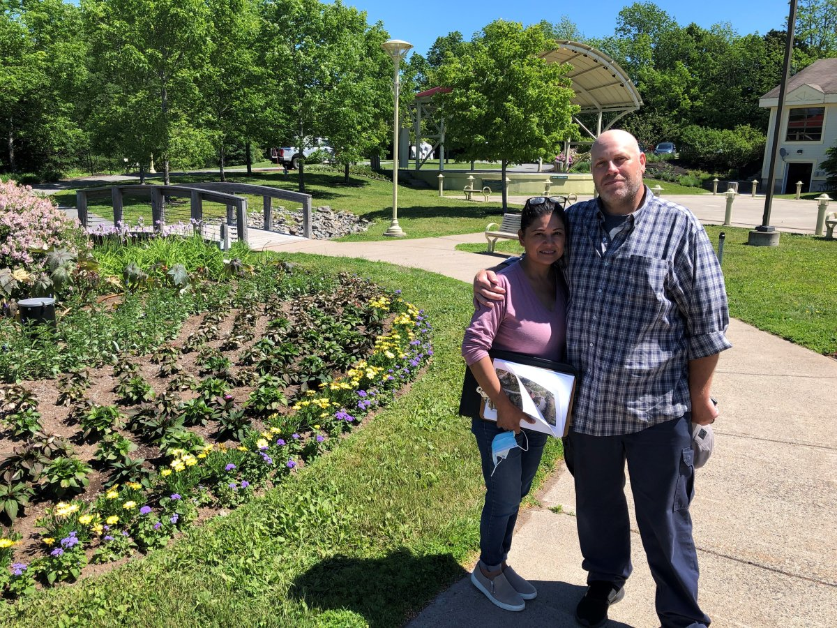 Isabel Ryder (left) and husband Andrew Ryder stand at the arts and culture park in Quispamsis, N.B., home to their new Quispamsis Farmers Market.