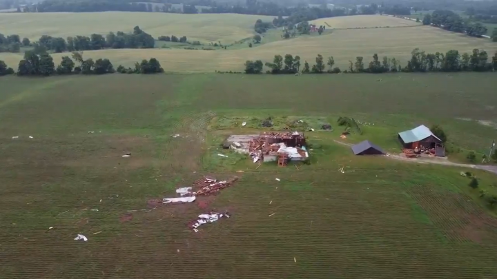 Damage is seen east of Chatsworth, Ont., on Saturday.