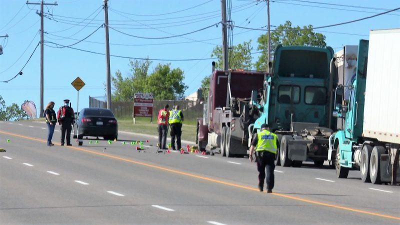 Calgary emergency crews respond to a crash involving a tow truck driver on Wednesday, June 16, 2021.