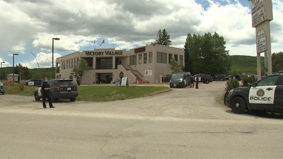 Calgary police on the scene of a stabbing at the New Victory Church in southwest Calgary.