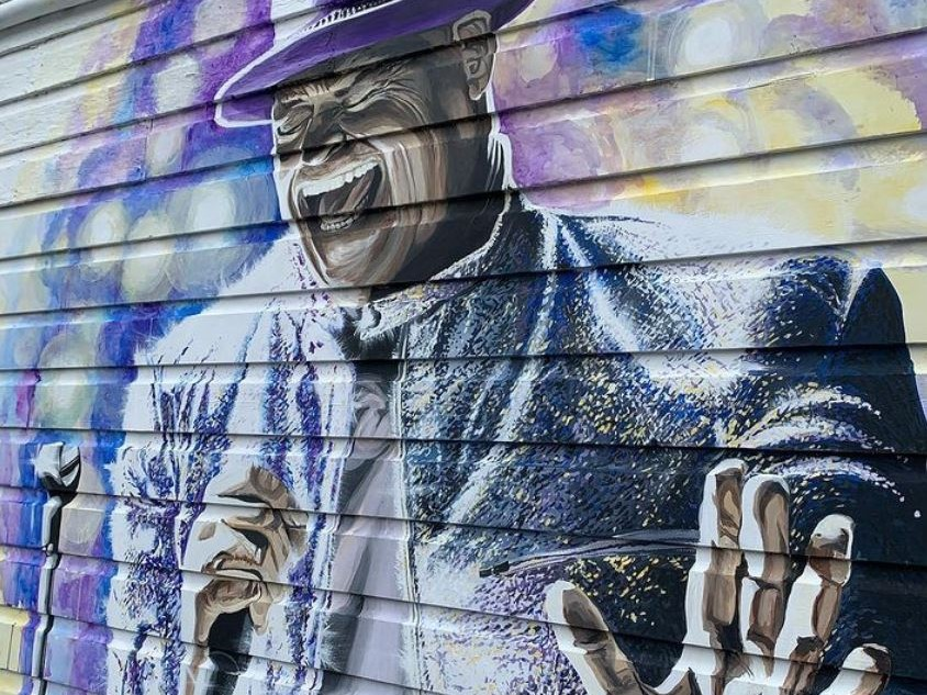 A wall mural of Canadian rock icon Gord Downie in Sicamous, B.C. Downie was an advocate for Indigenous rights and reconciliation.
