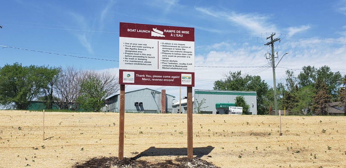 Signage for Ste. Agathe's new boat launch.