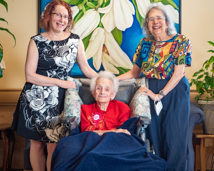 Cecile Klein - Canada's oldest person - celebrated her 114th birthday at Donald Berman Maimonides Geriatric Centre on Tuesday, June 15, 2021.  Klein is pictured with her daughter Harriet Nussbaum (on the right) and granddaughter Dr. Elaine Nussbaum.