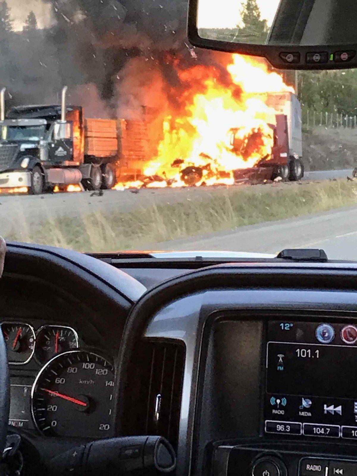 A fiery crash on the Okanagan Connector near Merritt Wednesday night has claimed one life.