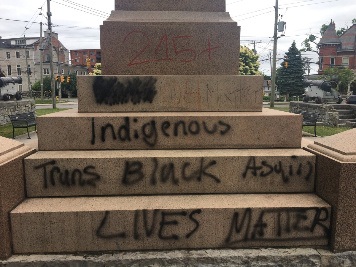 The pedestal that once held the statue of Sir John A. Macdonald in City Park has been hit with white supremacy messaging on multiple occasions since being removed on Friday.