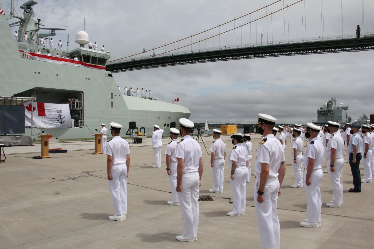 HMCS Harry DeWolf was welcomed into active service on Saturday.