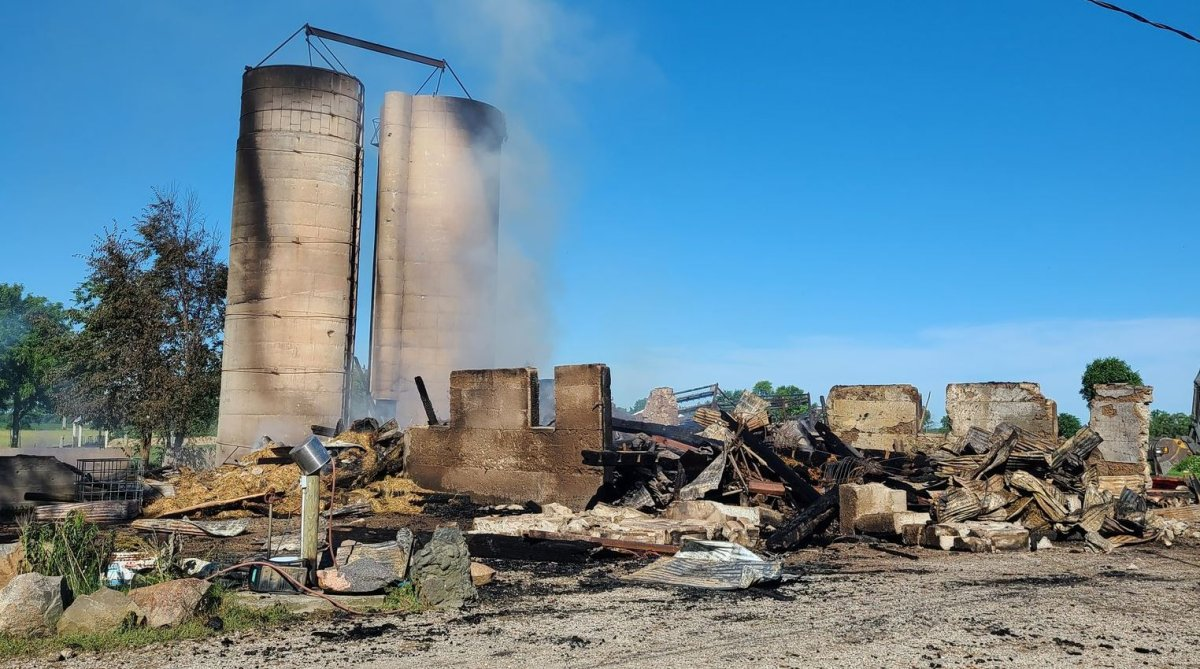 OPP say officers assisted Middlesex Centre firefighters in responding to a barn fire on Ivan Drive on June 16, 2021.
