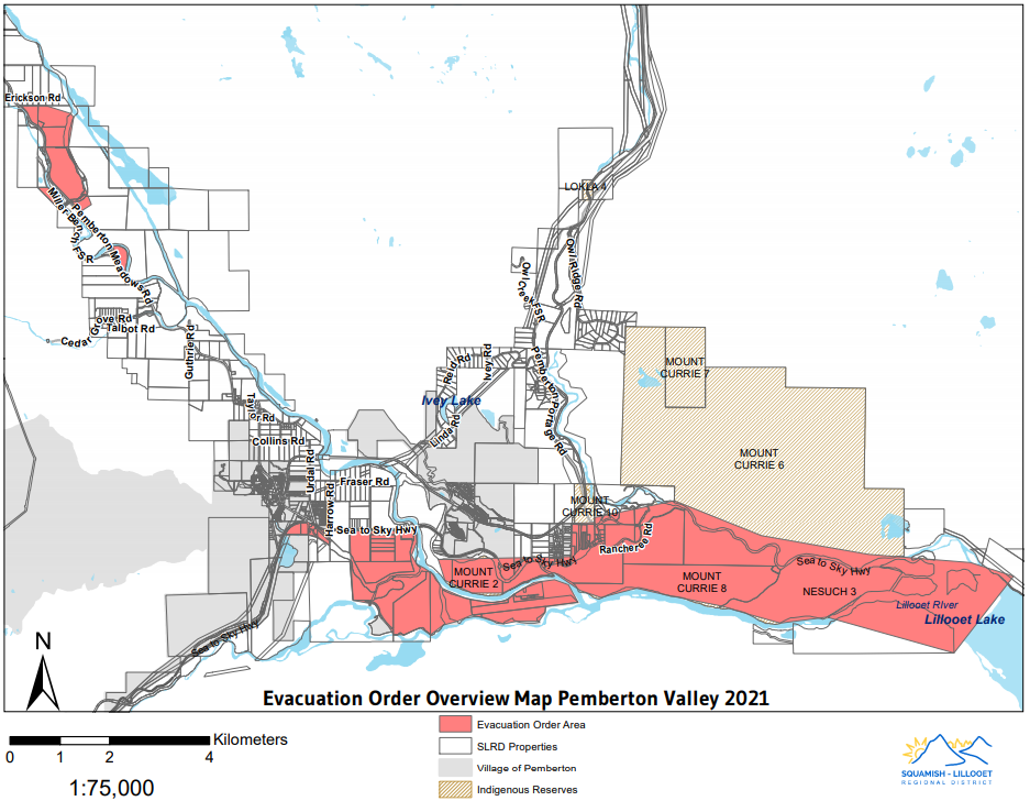 Properties covered by an evacuation order in the Pemberton Valley.