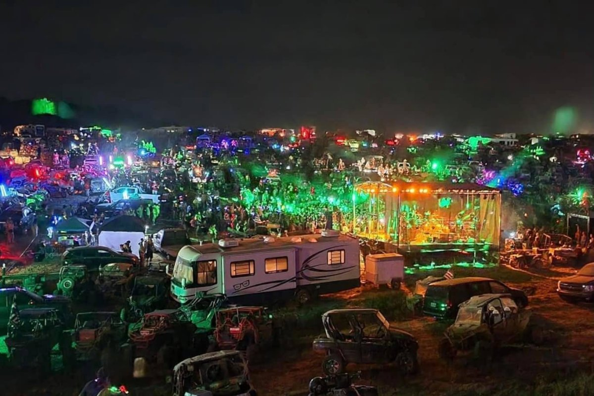 Crowds of people are shown at a so-called 'Redneck Rave' event in Kentucky on June 20, 2021.