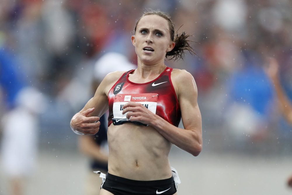 In this Sunday, July 28, 2019, file photo, Shelby Houlihan crosses the finish line as she wins the women's 5,000-meter run at the U.S. Championships athletics meet, in Des Moines, Iowa.