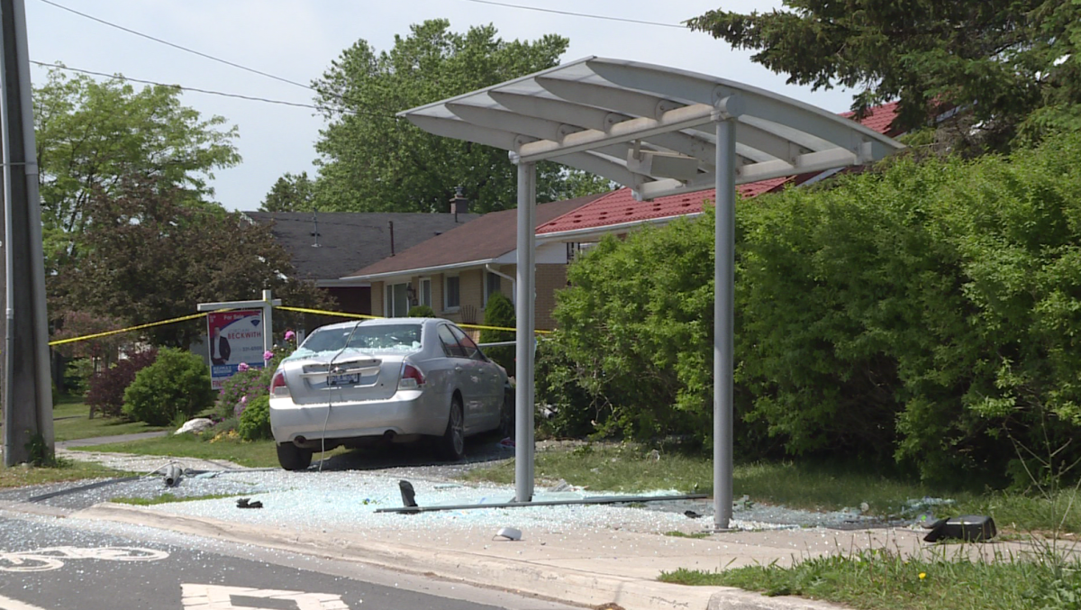 This vehicle crashed through a Kingston Transit stop Saturday after Kingston police say a firearm was shot in the city's north end.