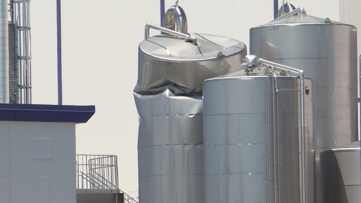 Goat milk spilled from a crushed silo at Kingston's Canada Royal Milk plant has led to an foul odour wafting from the plant.